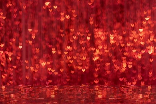 輝くハート型のスポットボケ味の背景ミラー反射ぼかしの装飾カーテン