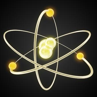 Shining lights atom model on a black.