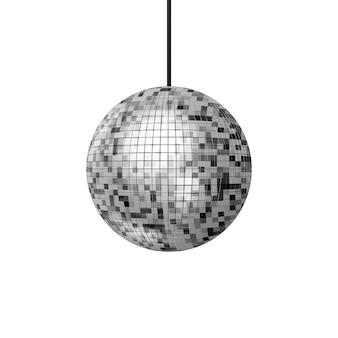 흰색 바탕에 빛나는 나이트 클럽 파티 디스코 볼. 3d 렌더링