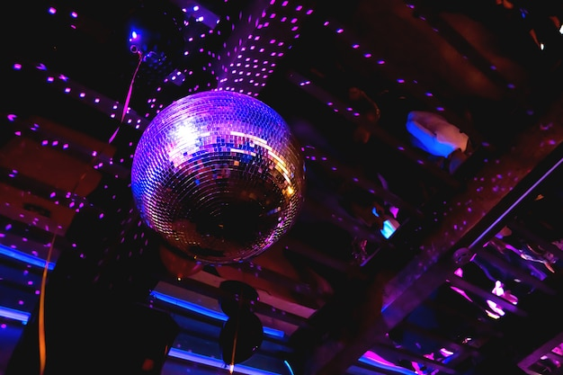 Shining purple mirror disco ball