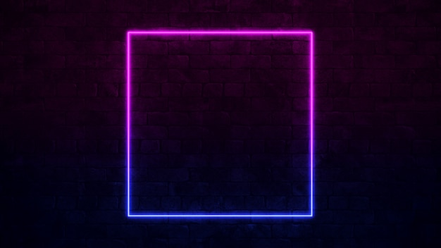 Shining square neon sign. purple and blue neon frame. dark brick wall.