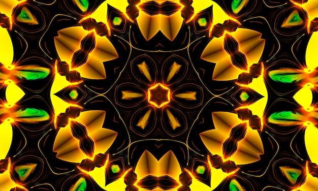 빛나는 노란 꽃 만화경. 여름 배경입니다. 꽃들. 봄 배경입니다. 자연 배경입니다. 노란 꽃.