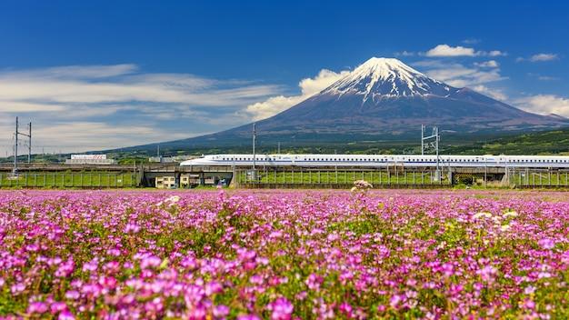 Shinkansen or bullet train at fujisan