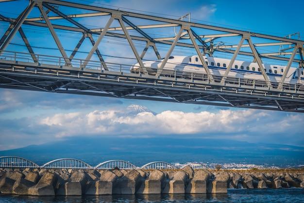 新幹線の電車で静岡の富士山。