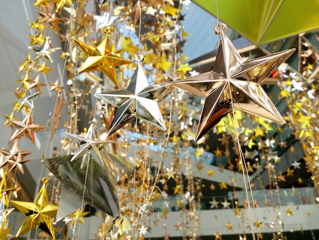 Shinny modern style decoration star for christmas and new year celebration festive and outdoor shot.