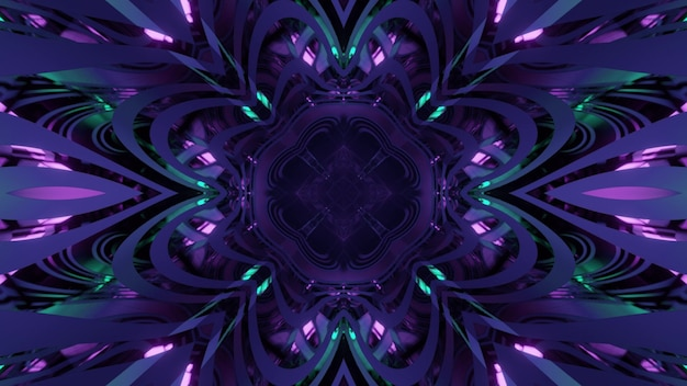 Shiny 3d illustration abstract kaleidoscopic pattern in shape of flower with purple and blue neon lights