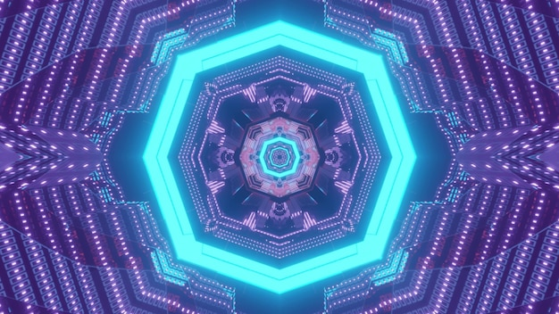 Shiny 3d illustration abstract visual background with blue neon octagon and blinking purple dots forming perspective geometric ornament