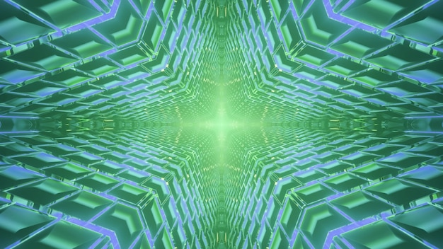 Shiny 3d illustration abstract visual kaleidoscope background with optical illusion effect of endless star shaped tunnel with diffuse geometric  and green and blue neon lights