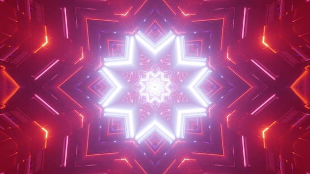 Shiny abstract 3d illustration of luminous white neon star shaped ornament with glowing red backdrop with geometric
