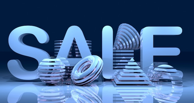 Shiny abstract geometric sales banner background. 3d rendering.