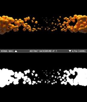 黒の背景に空中にぶら下がっているランダムな順序で光沢のあるボール。球と抽象的なイラスト。オレンジ色の光沢のある泡の雲。アルファチャンネル。透明マスク。