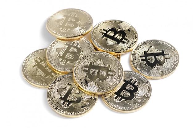 Shiny bitcoin souvenire coins row isolated