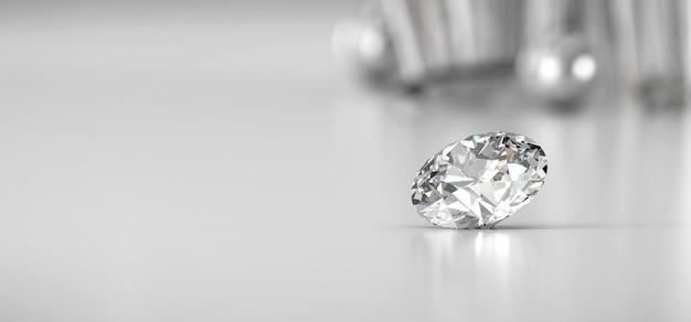 グラデーションの背景に置かれた光沢のあるブリリアントダイヤモンド