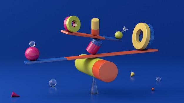 光沢のあるカラフルな形、平衡。抽象的なイラスト、3dレンダリング。
