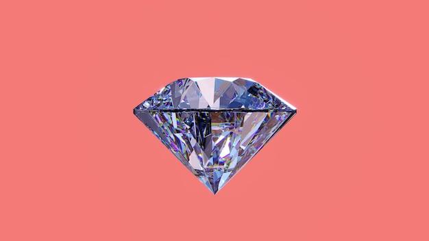ピンクの背景に分離された光沢のあるダイヤモンド。 3dレンダリングイラスト