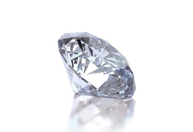 흰색 표면에 빛나는 다이아몬드