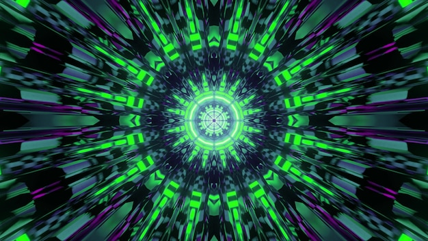 Shiny geometric ornament with green neon rays 3d illustration