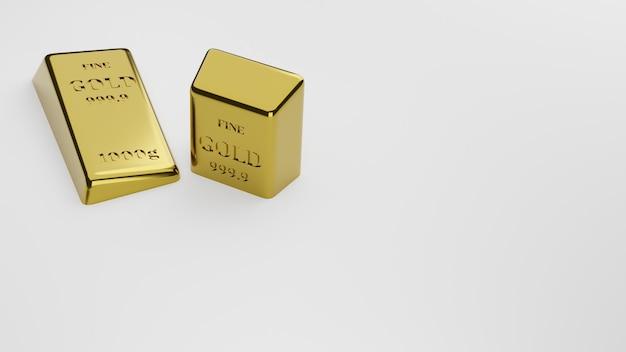 Падение блестящих золотых слитков на белом фоне. понятие о банковском деле и богатстве. 3d