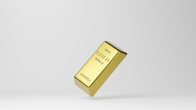 Блестящие золотые слитки, изолированные на белом фоне. понятие о банковском деле и богатстве.