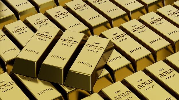 Сложены блестящие золотые слитки. понятие о банковском деле и богатстве. 3d