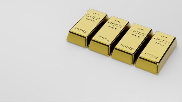 Блестящие золотые слитки уложены на белом фоне. понятие о банковском деле и богатстве.