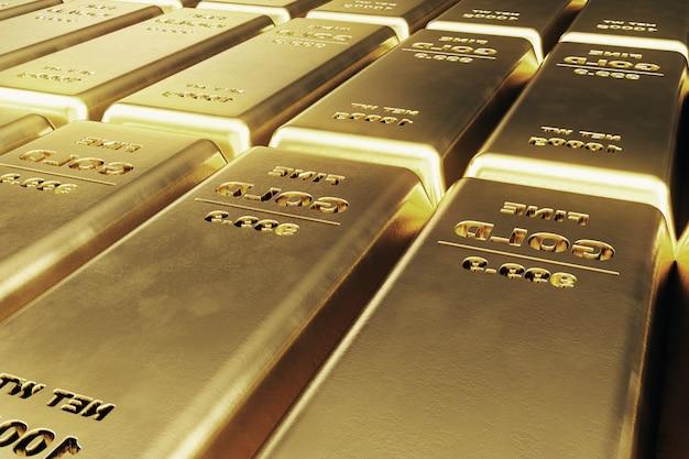 Блестящие золотые слитки, вес золотых слитков 1000 грамм понятие богатства и запаса. концепция успеха в бизнесе и финансах. 3d иллюстрация