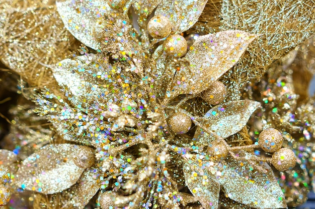 Shiny gold christmas snowflake close-up, holiday accessories for the christmas tree