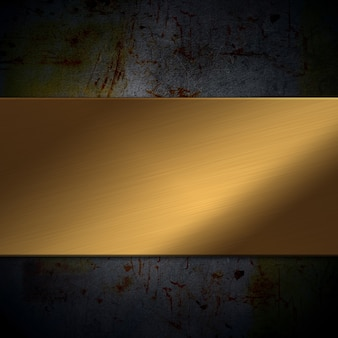 Shiny gold metal plate on a grunge background