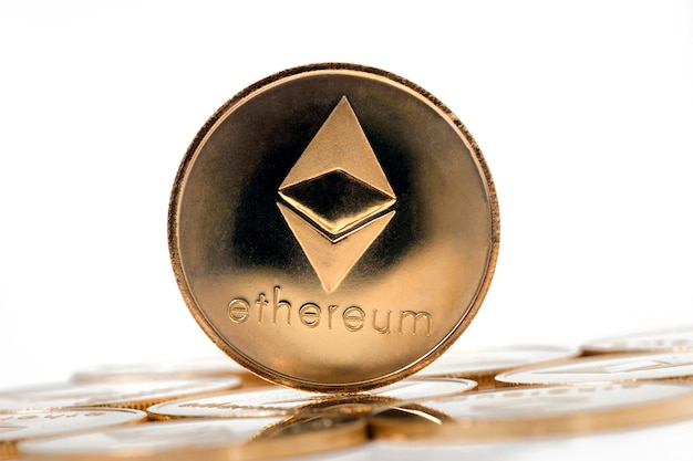 Shiny golden ethereum coins