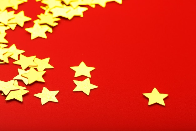 Shiny golden paper stars