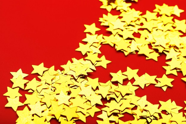 Shiny golden paper stars