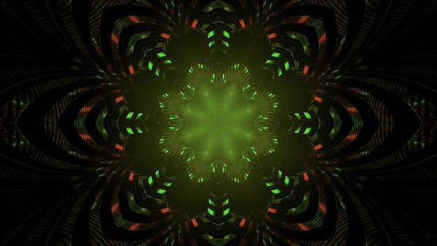 Shiny kaleidoscope flower pattern in darkness 3d illustration