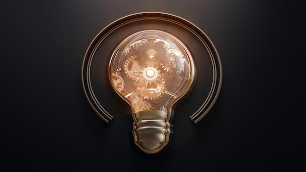 Shiny light bulb and gears inside