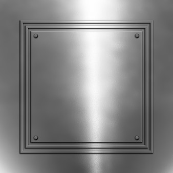 Shiny metal background with square frame