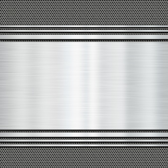 Shiny metal plate on a grunge background