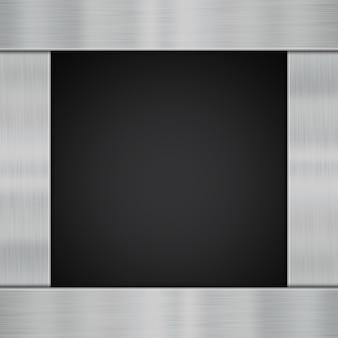 カーボンファイバーの背景に光沢のある金属板