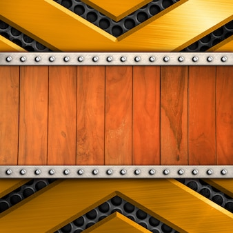 Shiny metal with wood pattern background for template