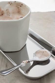 Shiny milk chocolate stain spoon
