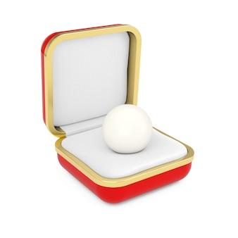 白い背景の上の赤いギフトボックスの光沢のあるナチュラルホワイトシーパール。 3dレンダリング