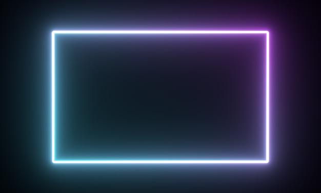 빛나는 네온 사각형 프레임 빛 기하학적 모양 d 렌더링