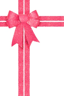 Shiny pink gift bow with ribbon isolated on white.
