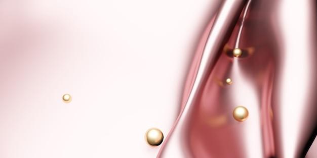 光沢のあるピンクゴールドシルクとゴールドパールのきらめく表面3dイラスト