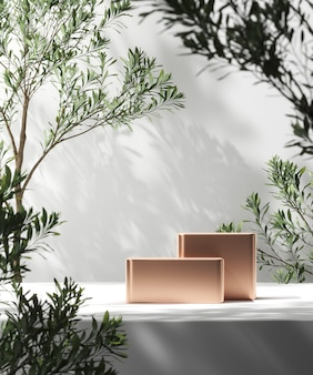 Shiny platform on white mockup scene, blur plants foreground and plants shade background, abstract background for product presentation or ads. 3d rendering