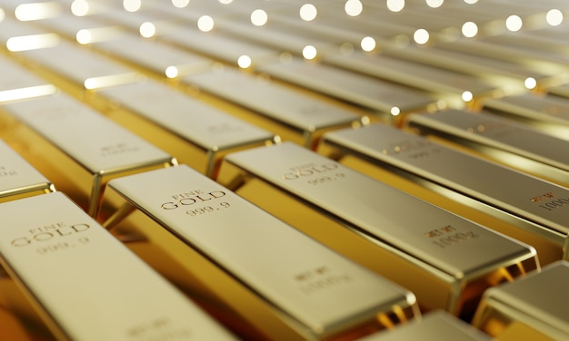 Shiny pure gold bars in a row background. wealth and economic concept