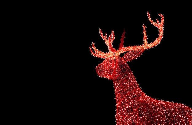 Shiny red illuminated christmas reindeer shaped outdoor decoration lights on black