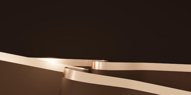 光沢のあるリボンの背景装飾用フラッター3dイラスト