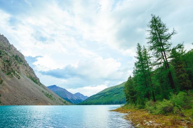 Сияющая рябь на поверхности воды голубого горного озера в долине. прекрасные горы. хвойный лес на склоне горы в солнечном свете. лиственница на краю воды. пейзаж величественной природы горной местности.