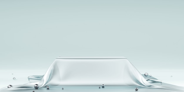 Блестящий атлас элегантно размещенный на подиуме или пустой полке подиума, роскошная концепция галереи фон
