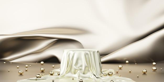 Блестящий атлас элегантно размещенный на пустой цокольной полке роскошная концепция галерея фон продукт