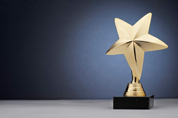 Shiny star statue award made of gold